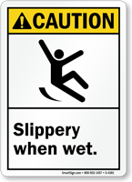 Caution (ANSI) Slippery When Wet Sign