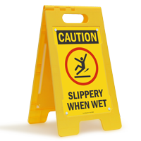 Caution Slippery When Wet W/Graphic Fold-Ups® Floor Sign
