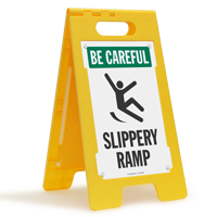 Slippery Ramp Be Careful Floor Sign
