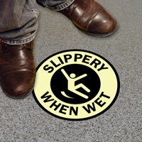 Slippery When Wet Circular Glow Floor Sign