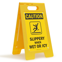 Slippery When Wet Or Icy Floor Standing Sign