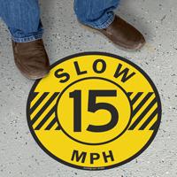 Slow 15 Mph Floor Sign