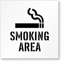Smoking Area Floor Stencil with Graphic