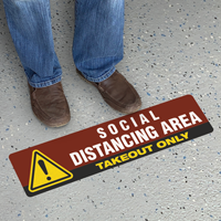 Social Distancing Area Takeout Only SlipSafe Floor Sign