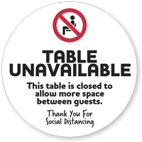 Table Unavailable To Allow Space Between Guests Decal