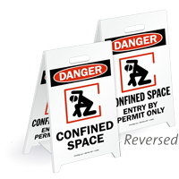 Danger Confined Space Reversible Fold-Ups Floor Sign