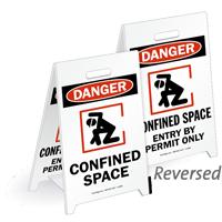 Danger Confined Space Reversible Fold-Ups Floor Sign