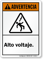 Spanish ANSI Advertencia Alto Voltaje Sign, High Voltage