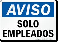 Aviso Solo Empleados Spanish Sign