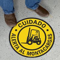 Cuidado Alerta Al Montacargas, Spanish Floor Sign