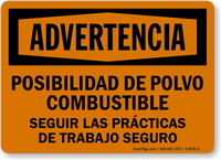 Spanish Advertencia Posibilidad De Polvo Combustible Sign