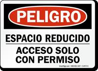 Espacio Reducido Acceso Solo Con Permiso Spanish Sign
