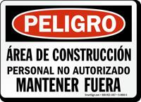 Peligro Area De Construccion Mantener Fuera Spanish Sign