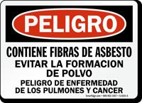 Spanish Danger Contains Asbestos Fibers Cancer Hazard Sign