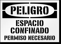 Spanish Danger Confined Space Stencil