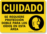 Spanish Caution Double Hearing Protection Required Sign
