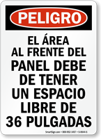 Spanish Electrical Panel Keep Clear Peligro Sign