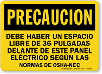 Spanish Caution Electrical Panel Area Keep Clear Sign