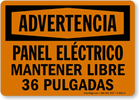 Spanish Panel Electrico Mantener Libre 36 Pulgadas Sign