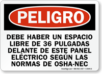Spanish Electrical Panel Keep Area Clear Peligro Sign