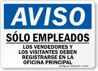 Spanish Aviso Solo Empleados Sign
