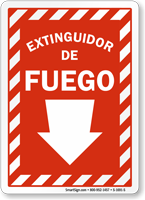 Spanish Extinguidor De Fuego Sign, Fire Extinguisher