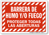 Spanish Barrera De Humo Y/O Fuego Sign