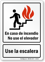 En Caso De Incendio Use La Escalera Spanish Sign