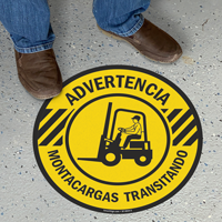 Spanish Advertencia Montacargas Transitando, Forklift Traffic Floor Sign