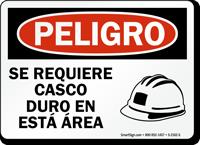 Spanish Peligro Se Requiere Casco Duro Sign