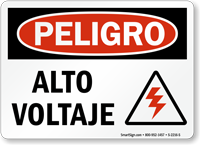 Spanish Peligro Alto Voltaje Sign, High Voltage