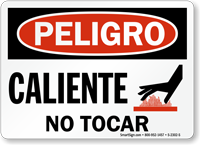 Caliente No Tocar Hot No Touching Spanish Sign