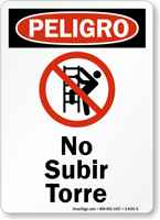 Spanish Peligro No Subir Torre Sign