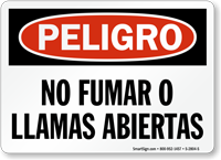 Spanish Peligro No Fumar O Llamas Abiertas Sign