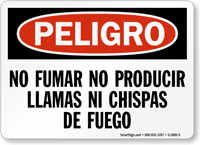 No Fumar Llamas Chispas De Fuego Spanish Sign