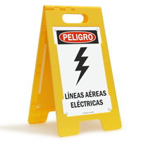 Spanish Lineas Aereas Electricas, Overhead Power Lines Sign