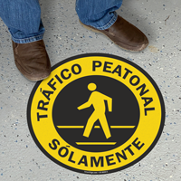 Spanish Trafico Peatonal Solamente, Pedestrian Traffic Floor Sign