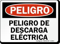 Spanish Peligro De Descarga Electrica Sign