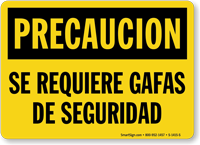 Precaucion Se Requiere Gafas De Seguridad Spanish Sign