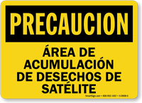 Area De Acumulacion De Desechos De Satelite Spanish Sign