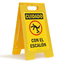 Cuidado Con El Escalon, Spanish Standing Floor Sign