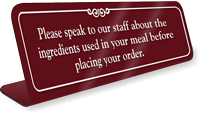Speak To Staff About Ingredient ShowCase Desk Sign