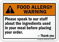 Speak To Staff About Ingredients Allergy Sign