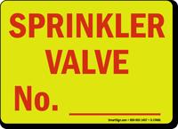 Sprinkler Valve No._____ Sign