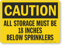Sprinkler Clearance Caution Sign