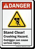 Stand Clear, Crushing Hazard ANSI Danger Sign