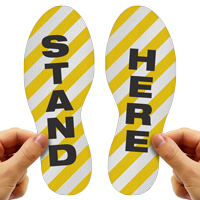Stand Here Footprints Floor Marker With Stripes