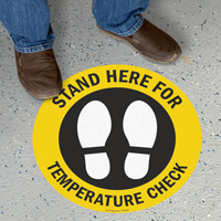 Stand Here For Temperature Check SlipSafe Floor Sign