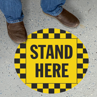 Stand Here Social Distancing SlipSafe Floor Sign