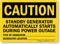 Standby Generator Starts Automatically Sign